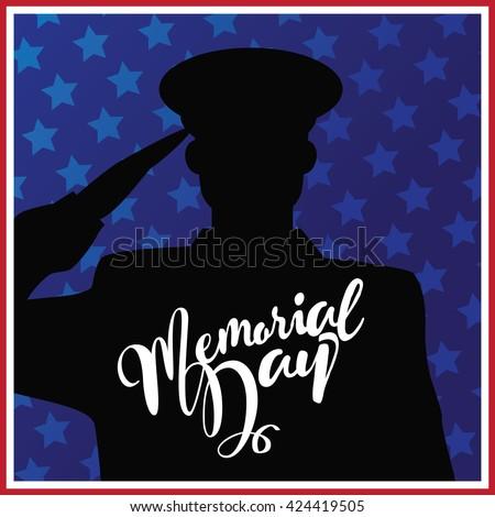 Memorial Day saluting soldier marketing background design. EPS 10 vector. - stock vector