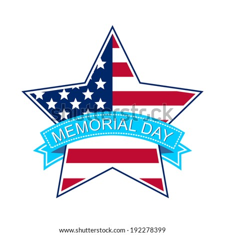 Memorial day star with national flag - vector illustration - stock vector