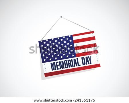 memorial day us hanging flag illustration design over a white background - stock vector