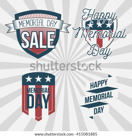 Memorial Day vector patriotic Labels Set - stock vector