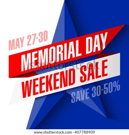 Memorial Day Weekend Sale banner vector illustration - stock vector
