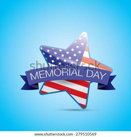 Memorial Day with star in national flag colors - stock vector