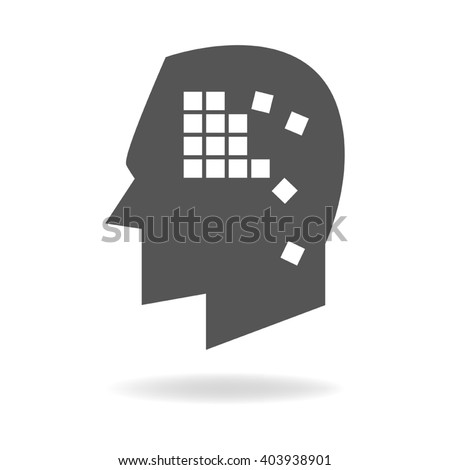 Memory concept graphic, boxes falling apart analogy for memory loss or alzheimer's disease - stock vector
