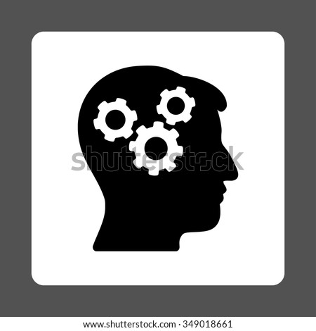 Memory vector icon. Style is flat rounded square button, black and white colors, gray background. - stock vector
