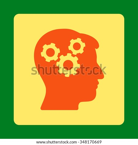 Memory vector icon. Style is flat rounded square button, orange and yellow colors, green background. - stock vector