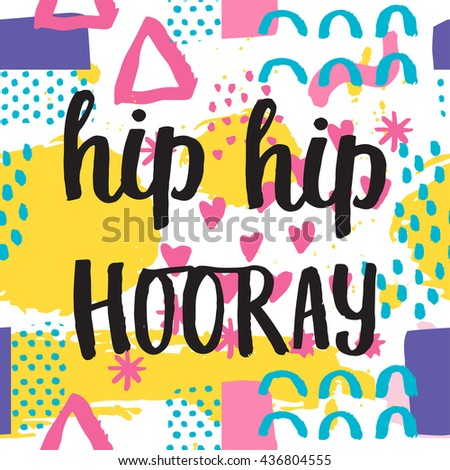 Memphis abstract seamless pattern background in retro vintage 80s or 90s style with birthday lettering hip hip hooray. Pop pattern for textile fabric design, party design. Vector illustration. - stock vector