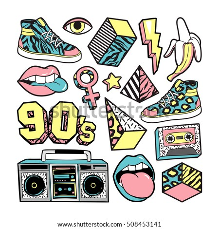memphis fashion patch badges lips sneakers stock vector royalty rh shutterstock com Bachelorette Clip Art Bachelorette Clip Art