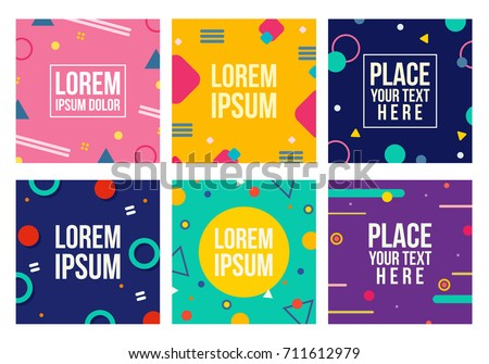 Memphis style cards. Collection of templates in trendy memphis fashion 80-90s. Perfect for ad, greeting cards, presentation, cover design and more. Vector.