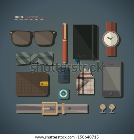 Men accessories  - stock vector