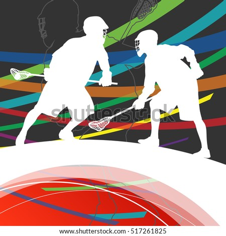 Men active sport lacrosse players silhouettes abstract background illustration vector