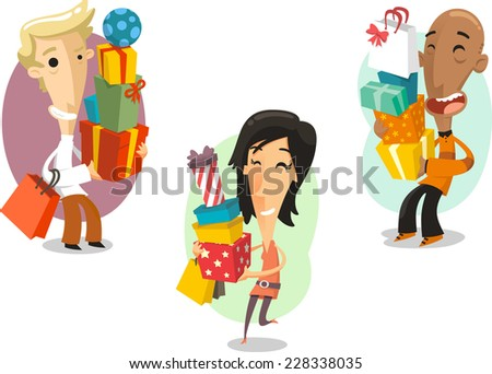 Men and Woman Christmas Presents Gift Packages Boxes, vector illustration cartoon. - stock vector