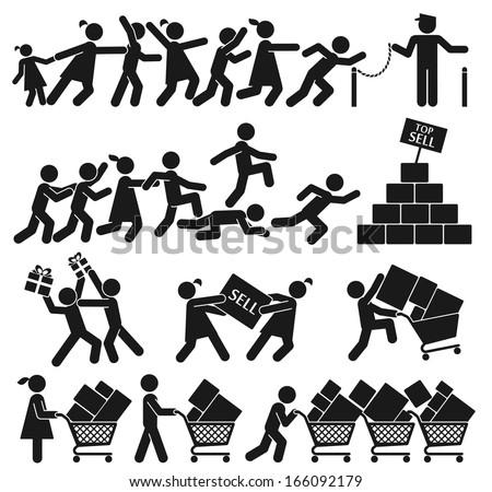 MEN AND WOMEN GO SHOPPING ON BLACK FRIDAY - stock vector