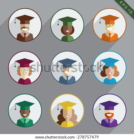 Men and women graduates of the earth in gown and hats. Graduation icon set in flat style. Back to school, university or college students and pupils of the world. Educational concept people - stock vector