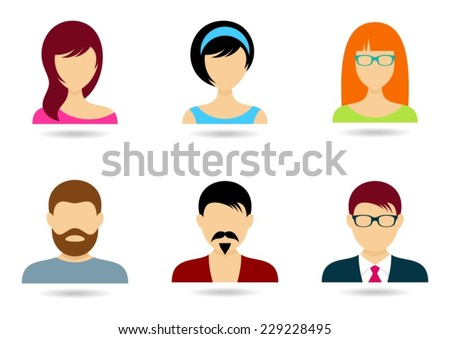 Men and women icons for web design isolated - stock vector