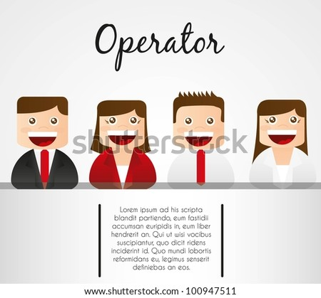 men and women operators stripe on white background for text - stock vector