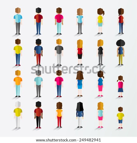 Men and Women People In Back Standing View Vector Illustration - stock vector