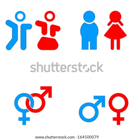 men and women sign icons - stock vector