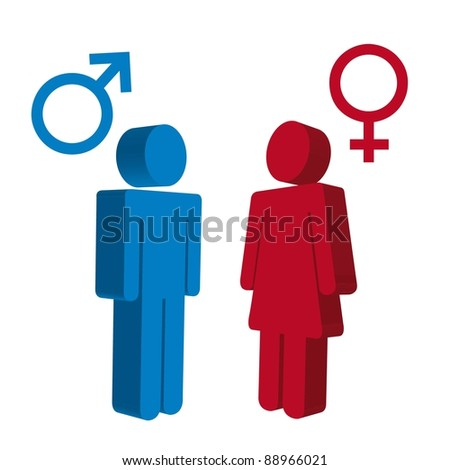 men and women sign over white background. vector - stock vector