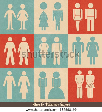 Men and Women Signs | Retro Design | WC icons | Restroom Signs | Toilet Pictograms - stock vector