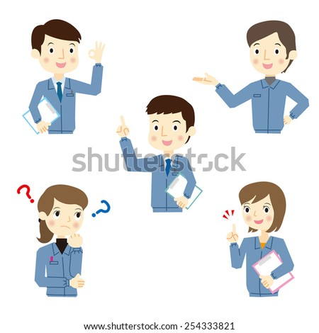 Men and women workers of expression - stock vector