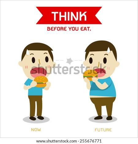 Men are standing eat burgers.  - stock vector