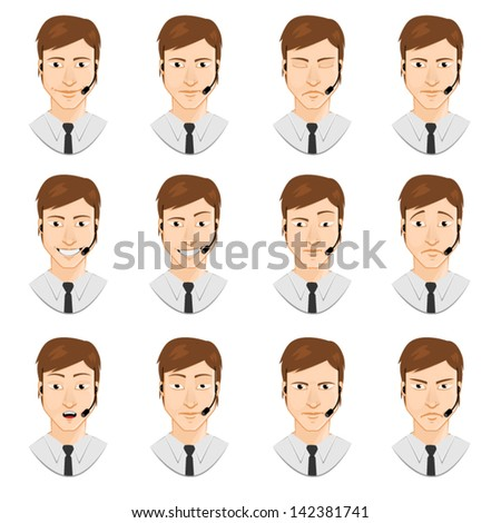 men avatars set: microphone - stock vector