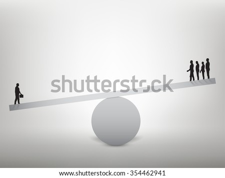 Men balanced on seesaw over a single man. Vector illustration