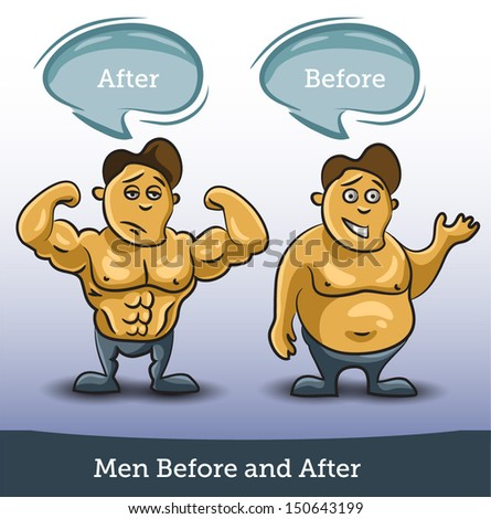Men Before and After, vector - stock vector