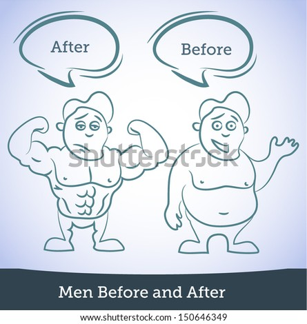 Men Before and After, vector