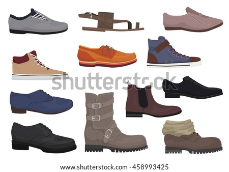 Men boots isolated set. Male man season shoes icons collection.