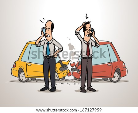 men calling insurance after car accident - stock vector