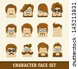 Men character icon set. Vector illustration - stock vector