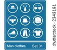 Men clothes icon set - stock vector