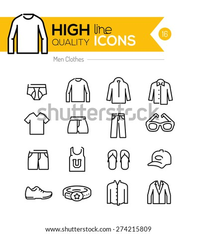 Men Clothes line icons series - stock vector