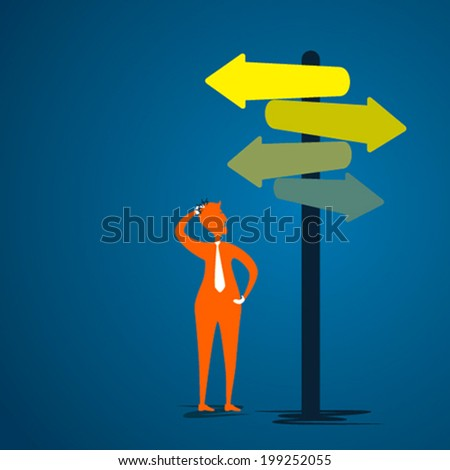 men confuse about right direction concept vector