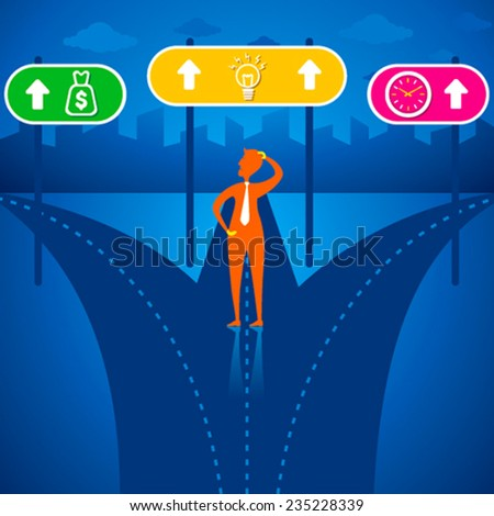 men confuse for choosing the right path like clock or time, money, idea concept vector - stock vector