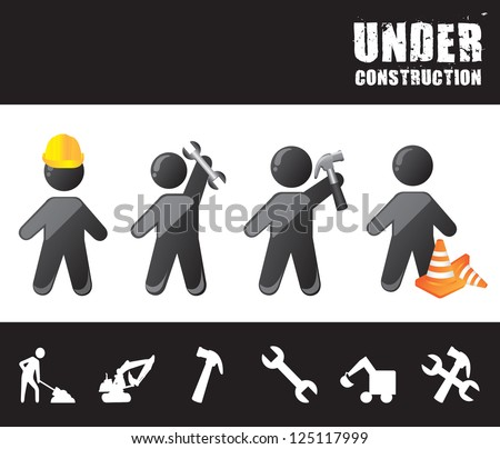 men construction with under construction tools vector illustration - stock vector