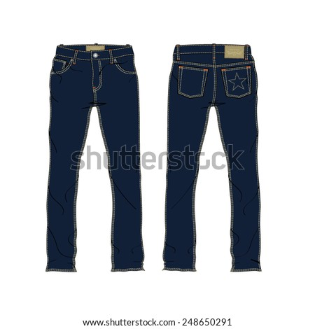 Men Denim Jeans Vector Template - stock vector
