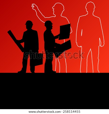 Men engineers miners and construction workers in helmets work line crowd unemployment concept vector background illustration - stock vector