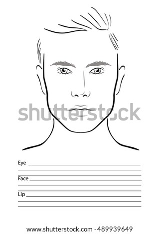 Face Chart Make Artist Blank Arab Stock Vector