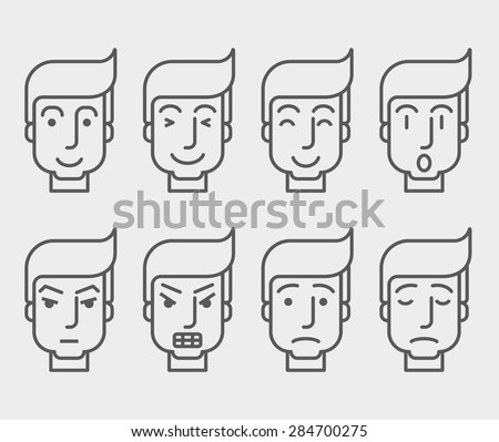 Men face with different expressions in front view. A contemporary style. Vector flat design illustration with isolated white background. Horizontal layout - stock vector