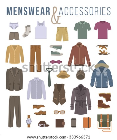 Men fashion clothing and accessories flat vector icons. Objects of male outfit, underwear, shoes and every day essentials for any season. Modern urban casual style collection - stock vector