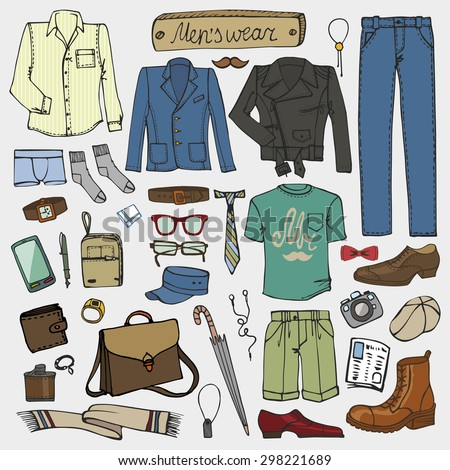 Men fashion wear.Doodle modern clothing set.Street casual apparel.Father day,hipster style.Isolated elements,icons.Hand drawn Vector Illustration,sketch.Father day,hipster,man
