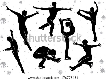 Men figure skating in motion on the ice. Set of silhouettes in vector. Winter sports. Falling snowflakes background. Illustration - stock vector