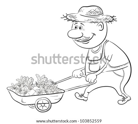 Men gardener driven truck with fresh vegetables, black contour on white background. Vector illustration - stock vector