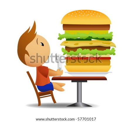 Men going to eat very big hamburger - stock vector