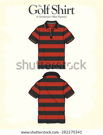 Men Golf Shirt Vector Apparel Template - stock vector