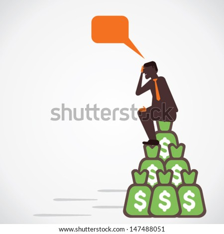 men got big amount of money , sit on that and think vector - stock vector