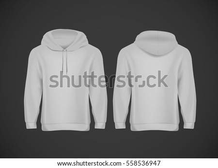 Men Gray Hoody Realistic Mockup Long Stock-vektorgrafik 558536947 ...