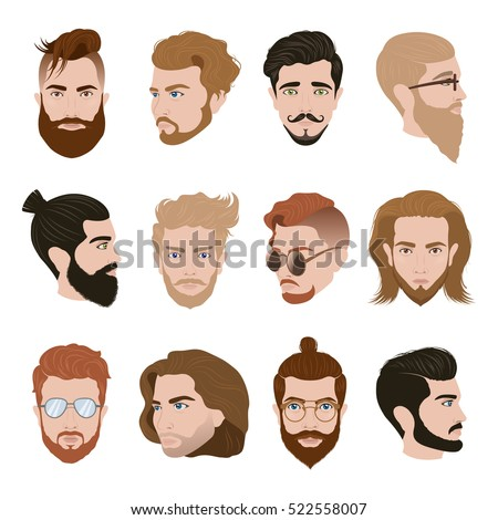 Men Hairstyle Collection With Beards Moustache Glasses Of Different Colors Isolated Vector Illustration